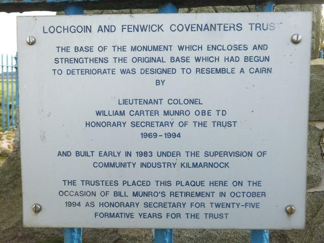 Lochgoin  and Fenwick  Covenanters Trust Plaque 2