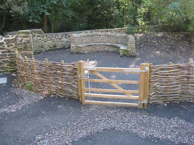 Drystane seat in the Hermitage Community Wildlife Garden