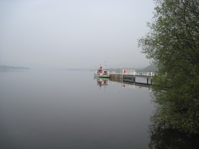 Early  morning  mist  on  Ullswater.  Pooley  Bridge  ferry  landing
