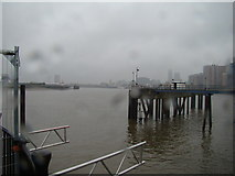 TQ3980 : View of the Thames from the East India Dock Basin pier by Robert Lamb