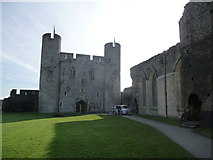 ST1587 : Part of the central courtyard in Caerphilly Castle by Jeremy Bolwell