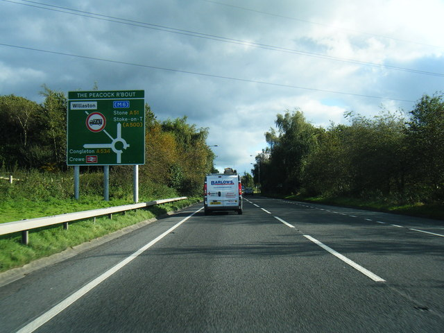 A51 approaches The Peacock Roundabout