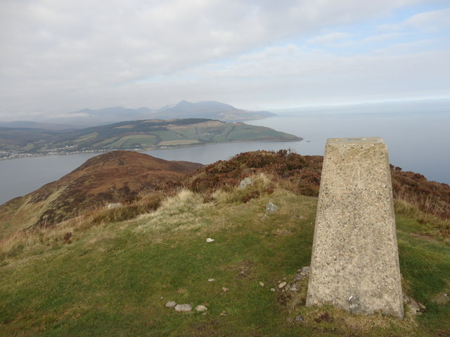 Holy Isle trigpoint looking towards Clauchlands and Goatfell