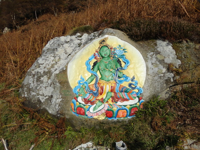 Rock paintings by the Tibetan  Buddhists
