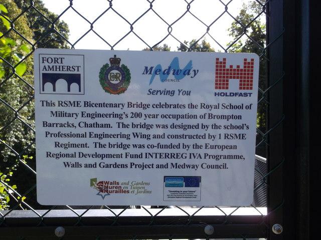 Plaque beside the RSME Bicentenary bridge Gate