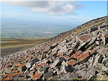 NY6834 : Boulder field on the southern side of the summit of Cross Fell (2) by Mike Quinn