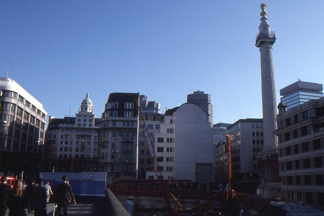 London Bridge, 1995: demolition opens up a view of the Monument