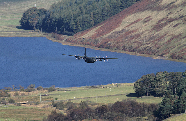 A Hercules flying low over Loch of the Lowes