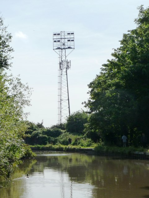 Football floodlights and mobile phone mast