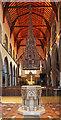 TQ2496 : St John the Baptist, Chipping Barnet - Font & cover by John Salmon