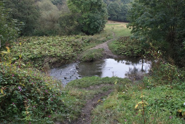 Stepping stones across Pudsey beck
