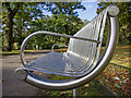 SP1479 : Stainless steel bench in Tudor Grange Park by David P Howard