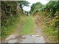 ST3290 : From paved road to grassy track near Broad Pill, Caerleon   by Jaggery