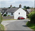 ST4894 : Red mini and whitewashed house, Mynydd-bach by Jaggery