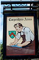 ST4894 : The Carpenters Arms pub sign, Mynydd-bach by Jaggery