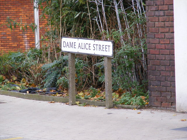 Dame Alice Street Sign