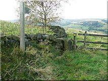 SE0125 : Stile, waymark and footpath sign on what should be Hebden Royd FP59 by Humphrey Bolton