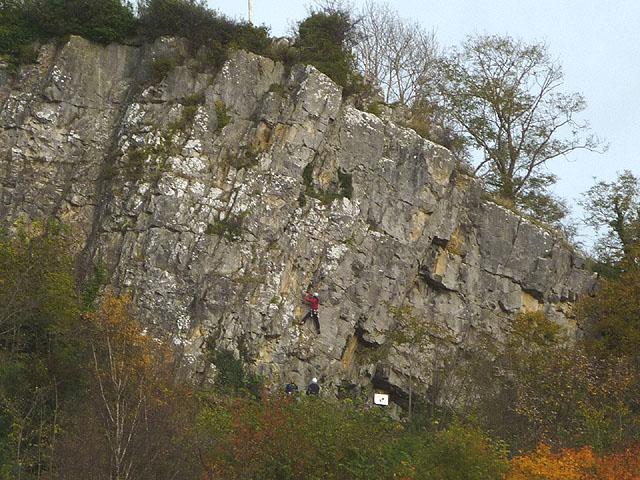 Climbers on Castlebergh Crag above Settle