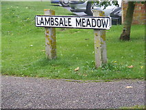 TM3863 : Lambsale Meadow sign by Geographer