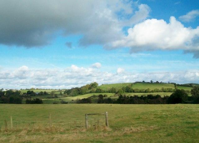 Farmland above the flood plain of the Ballynahinch River