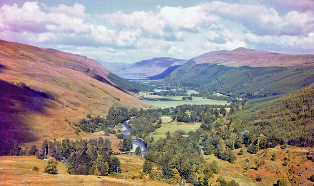 The classic scene down Strath Mor towards Loch Broom and Ullapool from near Auchindrean Bridge, 1957
