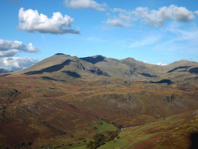 Upper Eskdale and the Scafell range from Harter Fell