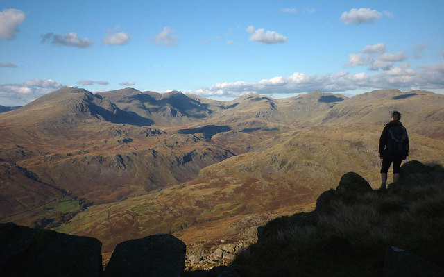 Upper Eskdale and the surrounding fells from Harter Fell summit