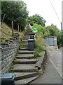 SN8907 : Long flight of steps up to houses from Pontneathvaughan Road near Glynneath by Jaggery