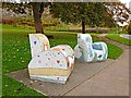 NY3956 : Mosaic chairs, Bitts Park by Oliver Dixon