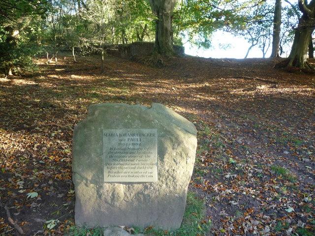 Memorial stone beside the drive near Penhein