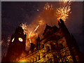 SJ8398 : Firework Display, Manchester Town Hall by David Dixon