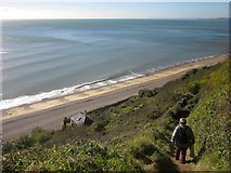 SY1687 : Descent to the beach, Weston Mouth by Derek Harper