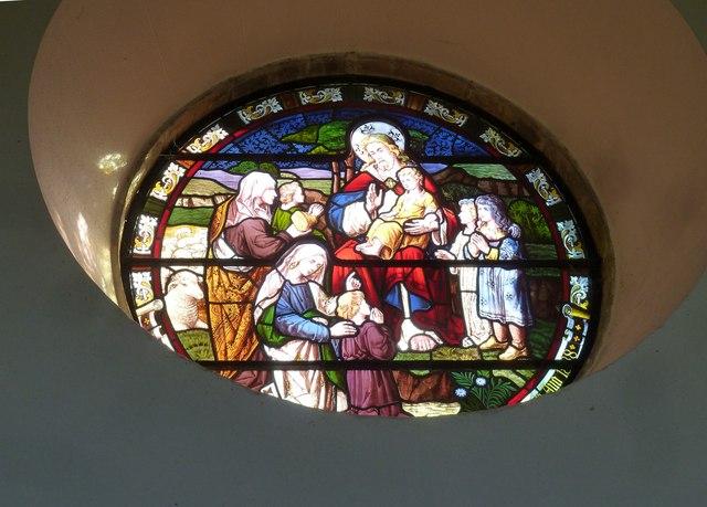 Melbury Osmond Church: stained glass window  (v)