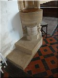 ST5707 : Melbury Osmond Church: font by Basher Eyre