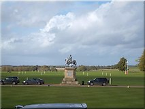 SP6737 : Statue of King George I on the north front of Stowe House by David Smith