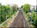 NZ2566 : Railway line from footbridge by Alex McGregor