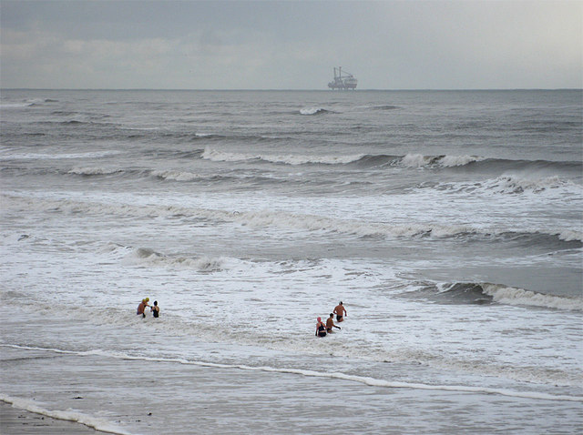Swimmers off Whitley Sands