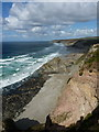 SW6847 : Cliffs and beach at Tobban Horse by Richard Law