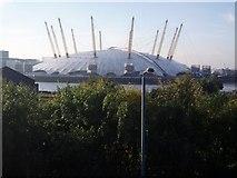 TQ3980 : Millennium Dome seen from Lower Lea Crossing bridge by Bikeboy
