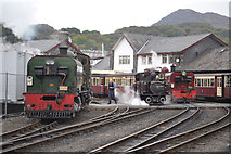 SH5738 : Two Garratts and a Fairlie at Harbour station by John Firth