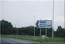 TQ0485 : Roadsign near J1 of the M40 by N Chadwick