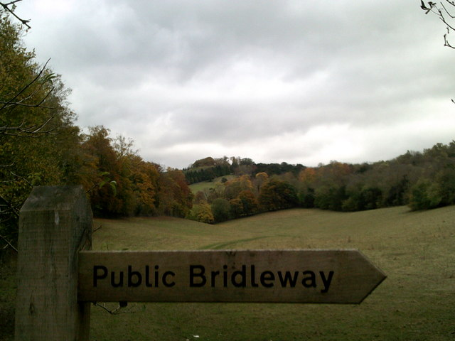 Public bridleway sign at the Whitehill car park