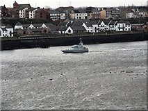 NZ3668 : Naval Training vessel going downriver by Robert Graham