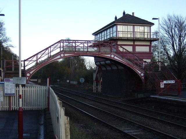 Footbridge and signal box, Haltwhistle Station