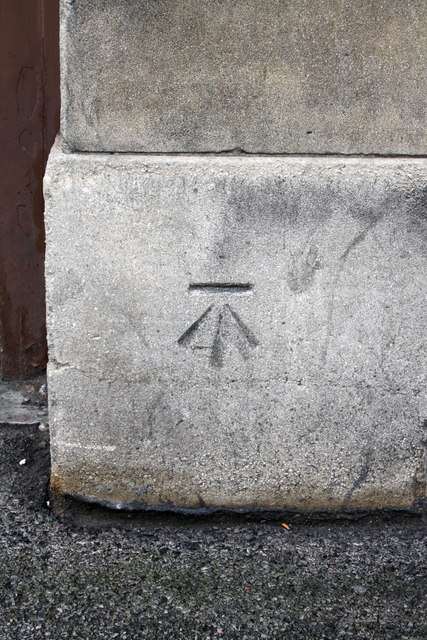 Benchmark on the bus depot by Roger Templeman