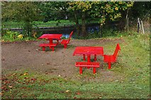 SO8480 : Picnic tables on Canalside Terrace, Cookley Playing Fields, Cookley by P L Chadwick