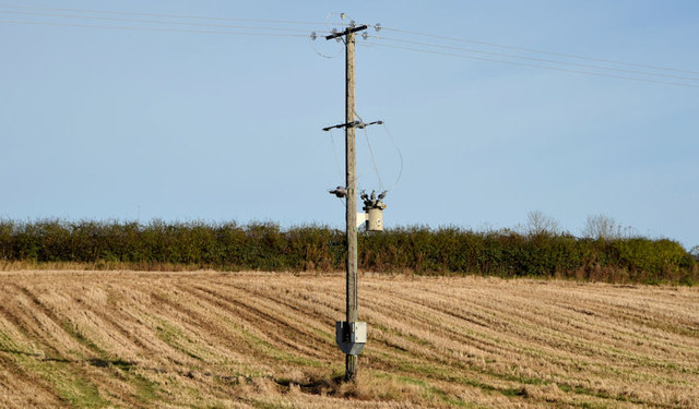 Pole and power lines, Lisburn/Ravernet