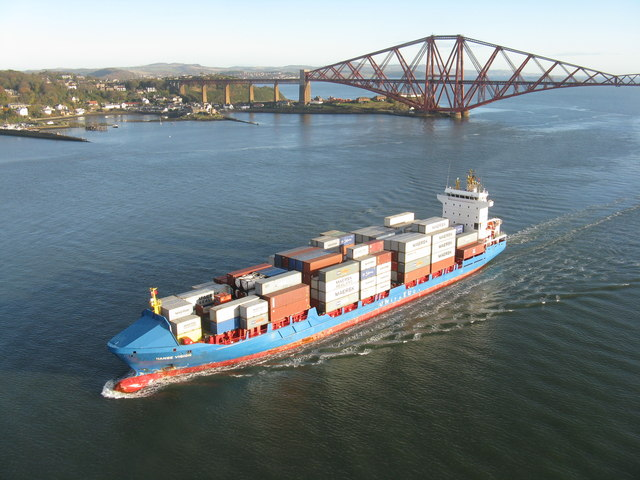 Container ship passing North Queensferry