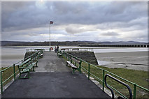 SD4578 : Arnside pier complete with flag by Peter Moore