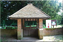 SU3940 : Lych gate of St Peter & Holy Cross Church, Wherwell by Barry Shimmon